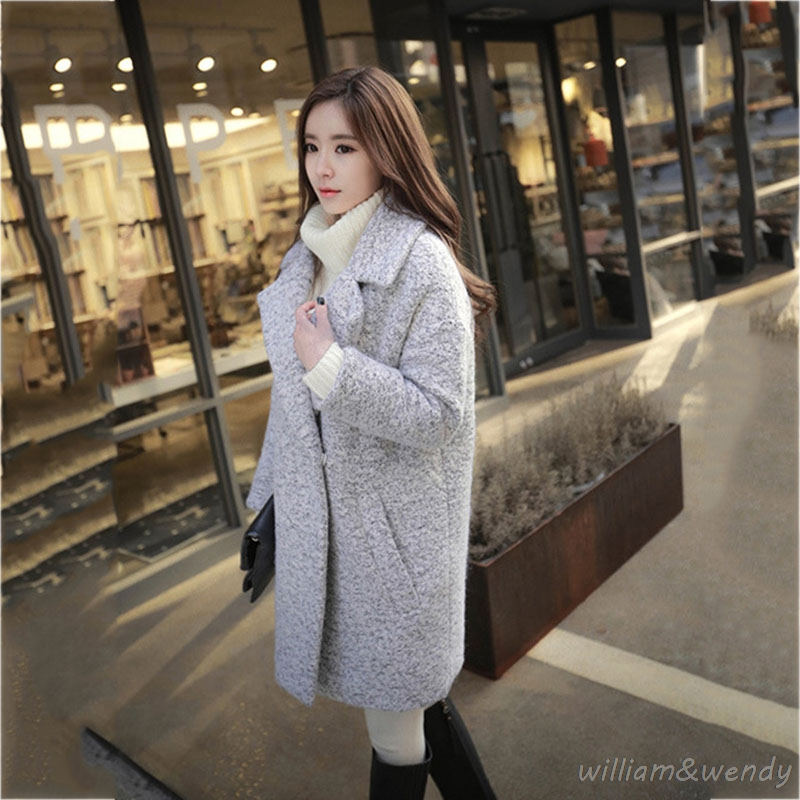 Woman Tweed Gray Palto Chinese Down Coat Winter Autumn Long Warm Wool font b Jacket b