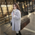 Woman Tweed Gray Palto Plus Size Down Coat Winter Autumn Long Warm Wool Jacket Manteau Femme Two Button Korea Cloak Woolen Coat