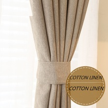 Custom Made Solid Colors Curtain Pure Cotton Linen Blackout Cloth Curtain Living Room Bedroom Window Eco-friendly Wedding Decor