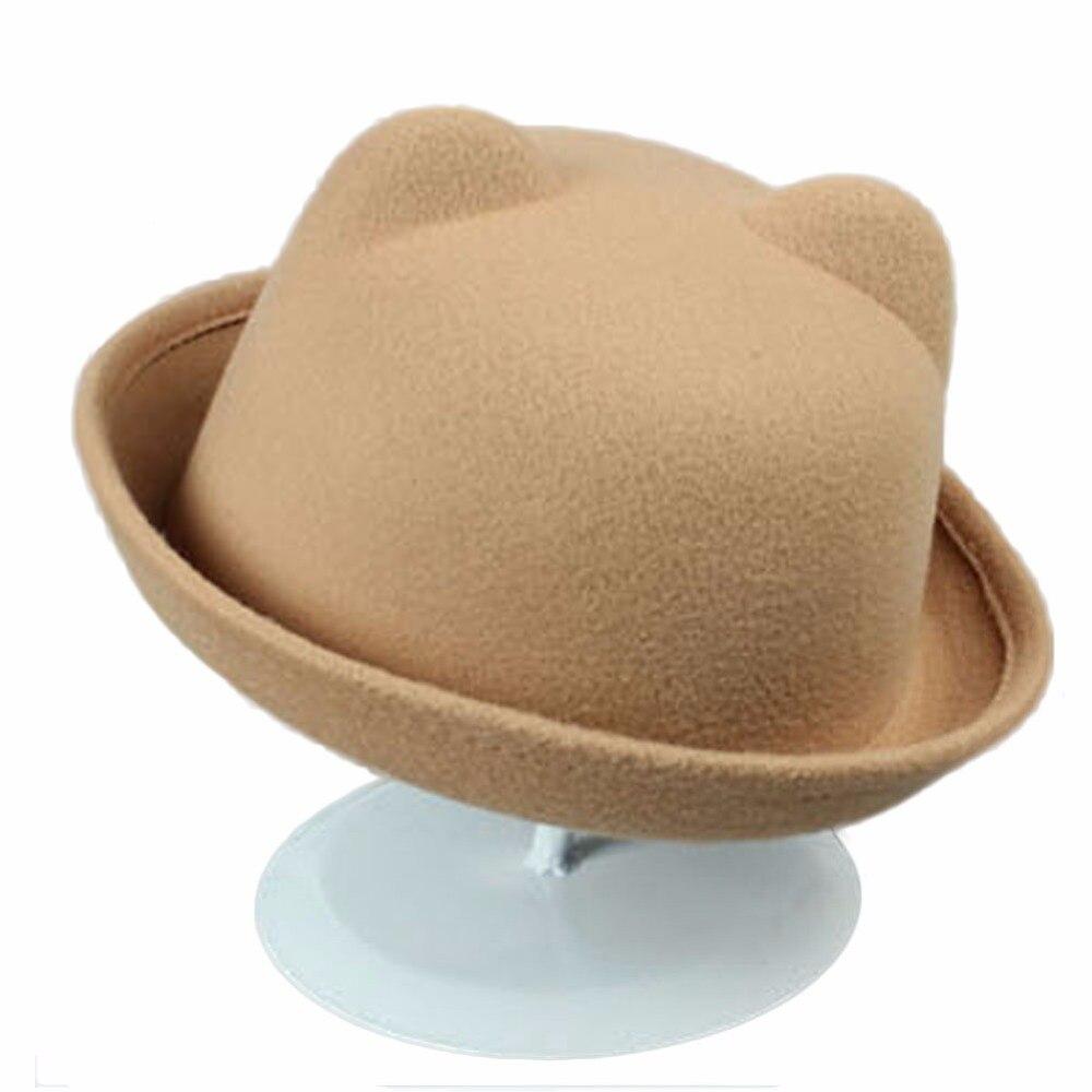 Fashion Winter Hat For Women Lady Cute Little Panda Ears Fur Curling Woolen Retro Small Dome Jazz Hat Korean Tendy Cap LB