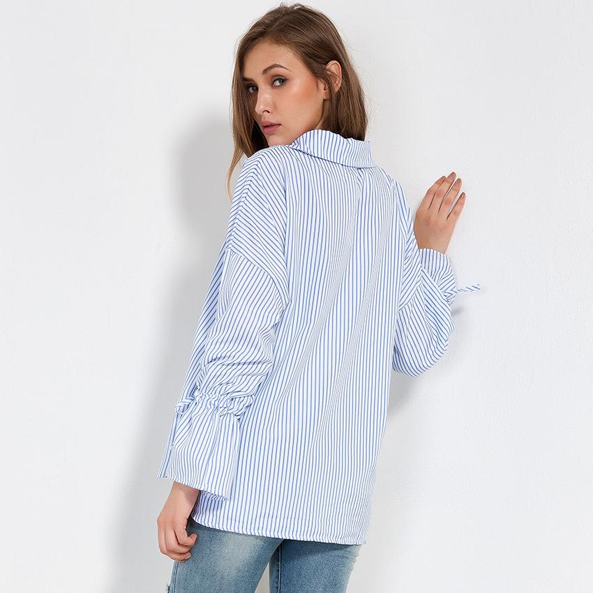 584e18936e7b Blue And White Striped Shirt Women Tops Autumn 2018 New Fashion ...
