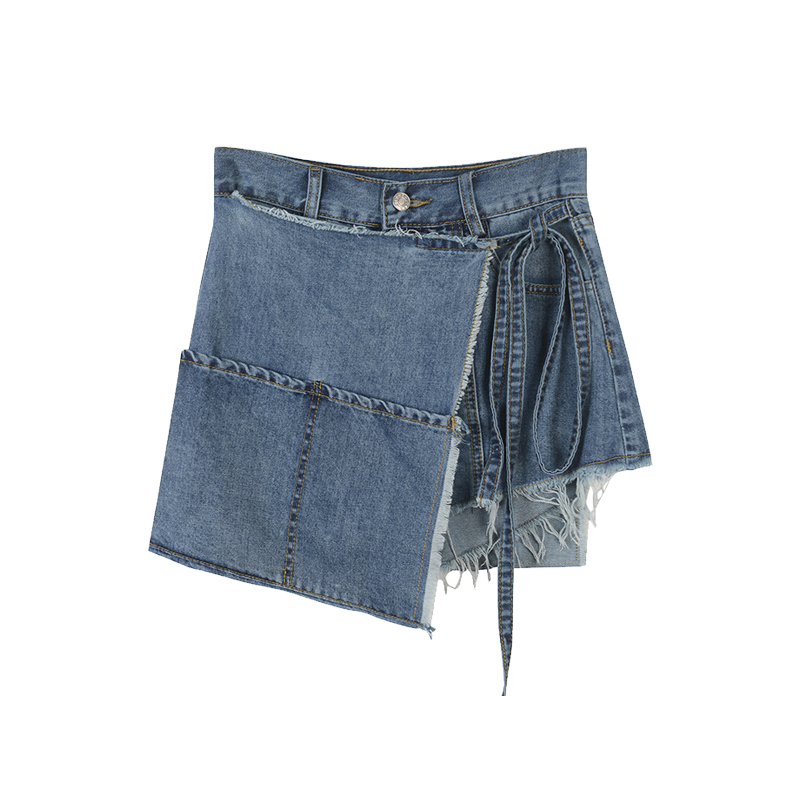 Woman Jeans Short Jeans Women Irregular High Waist Lace Up Wide Legs Denim Pants Female All Match Short Skirt Trousers Summer