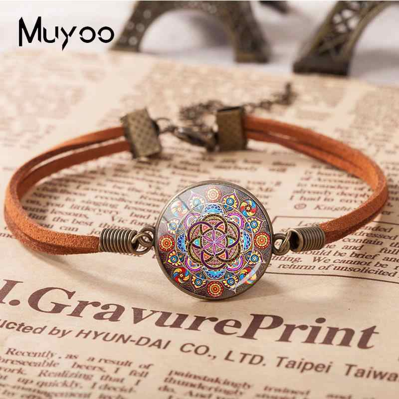 2018 New Steampunk Mandala Bracelet Glass Cabochon Photo Leather Bracelets Round Hand Craft Jewelry