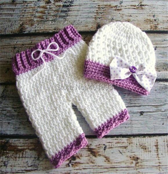 Envío gratis niñas CROCHET equipo recién nacido sombrero del bowknot ...