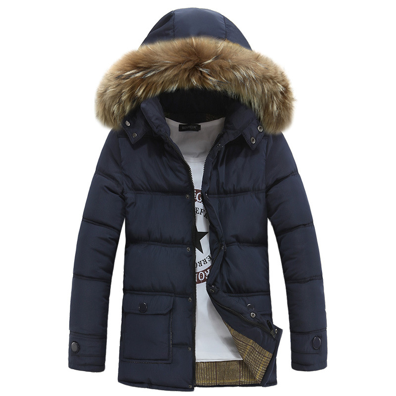 Free Shipping Winter Thick Warm Duck Cotton-padded Jacket Men Fur Collar Hooded Parkas Men Warm Jackets Windbreaker Coats free shipping 2015 cotton padded jacket men s nick coat cotton padded jacket wool liner thick warm cotton denim outerwear