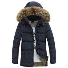 Free Shipping Winter Thick Warm Duck Cotton-padded Jacket Men Fur Collar Hooded Parkas Men Warm Jackets Windbreaker Coats