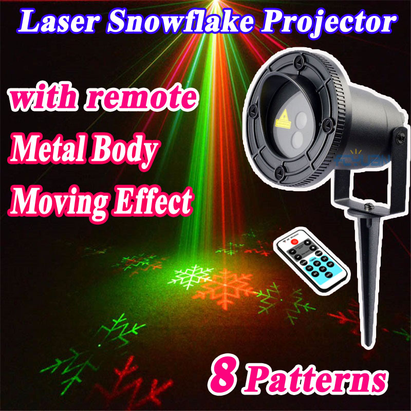 Outdoor Christmas Laser Snowflake Projector Shower For Home Decorations Double Color 8 patterns Waterproof With Remote