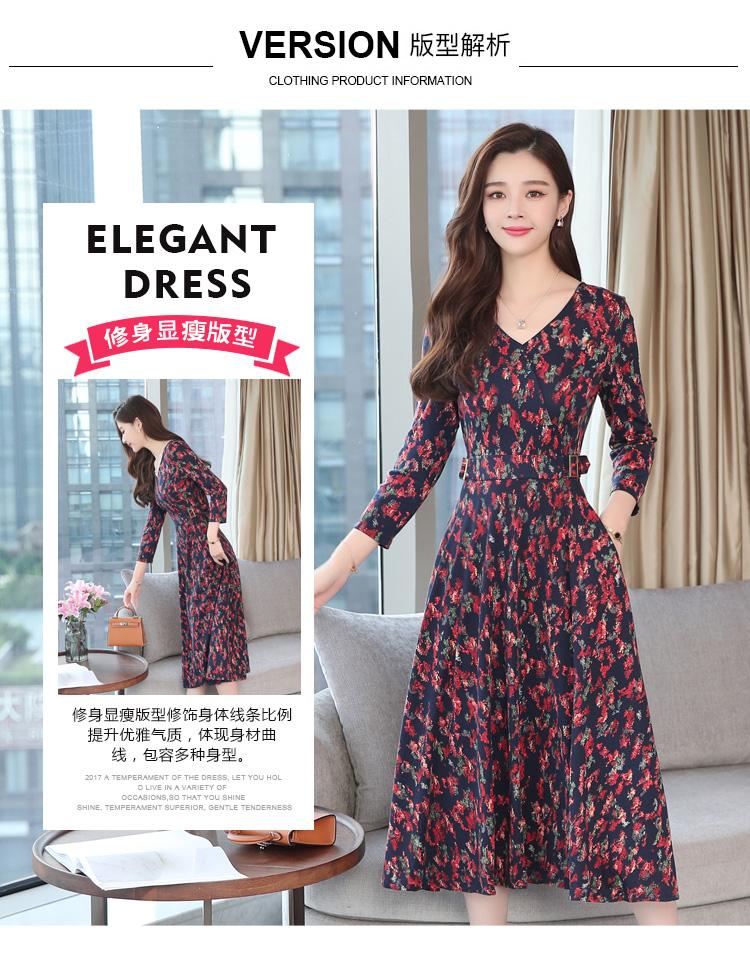 Autumn Winter New 3XL Plus Size Vintage Midi Dresses 2018 Women Elegant Bodycon Floral Dress Party Long Sleeve Runway Vestidos 17
