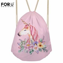FORUDESIGNS Drawstring Bag Kids Satchel Softback Mochilas Women's Small Backpack for Cartoon Unicorn Printing Girls Cute Daypack(China)