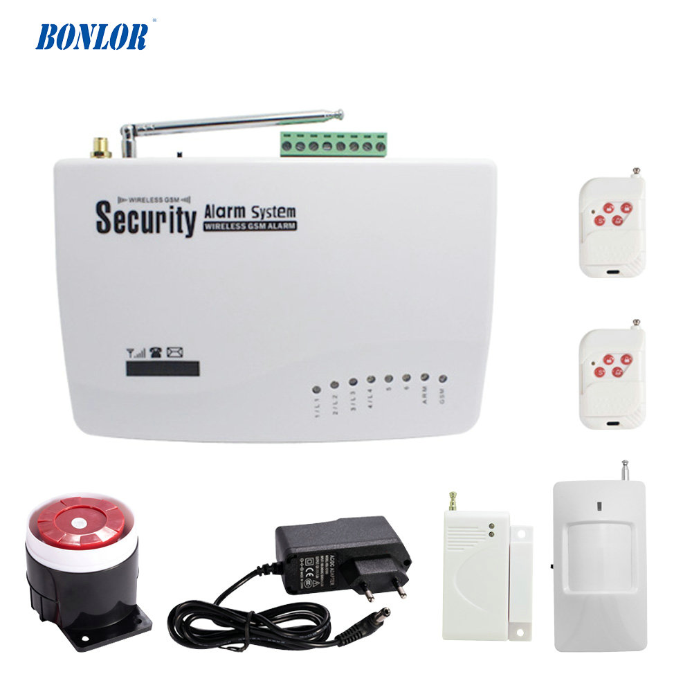 (1 set) Home security 6 wireless zone and 4 wire zone sms gsm Alarm system PIR Motion Sensor Magnetic Door open alarm burglar wireless gsm sms burglar alarm home security system with pir motion sensor door magnet sensor app control ios android
