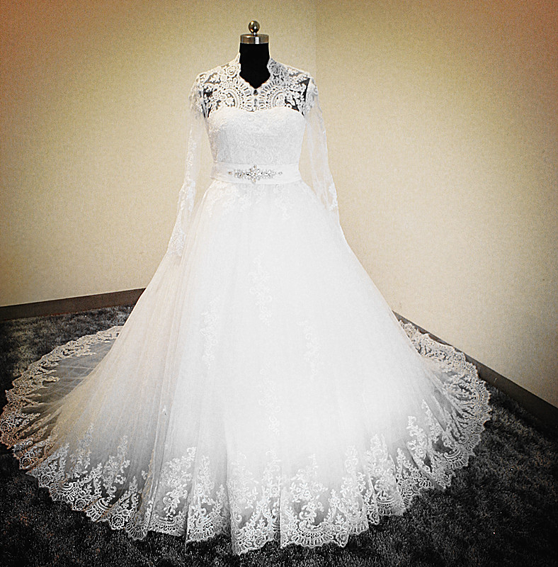 Real Made Key Hole Back Lace Top Long Sleeve Ball Gown