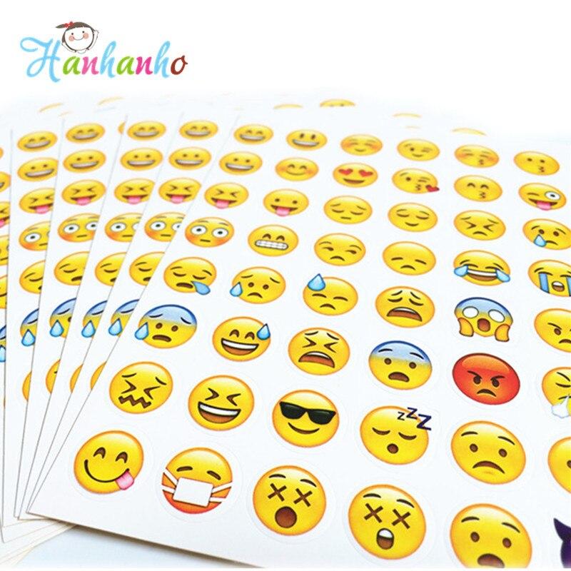 Hanhanho 20 ark / Pack Emoji Klistermärken Smily Face Stickers För Notebook Meddelande Klassiska Barn Leksaker