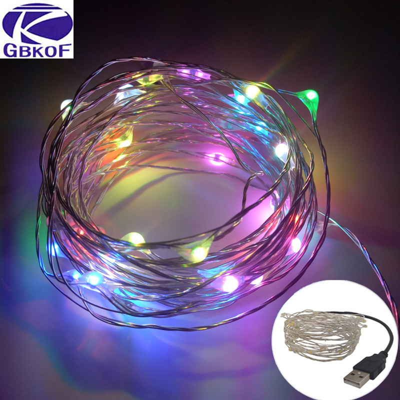 10M USB LED String Light Waterproof LED Silver Wire String Holiday Outdoor Fairy Lights For Christmas Party Wedding Decoration