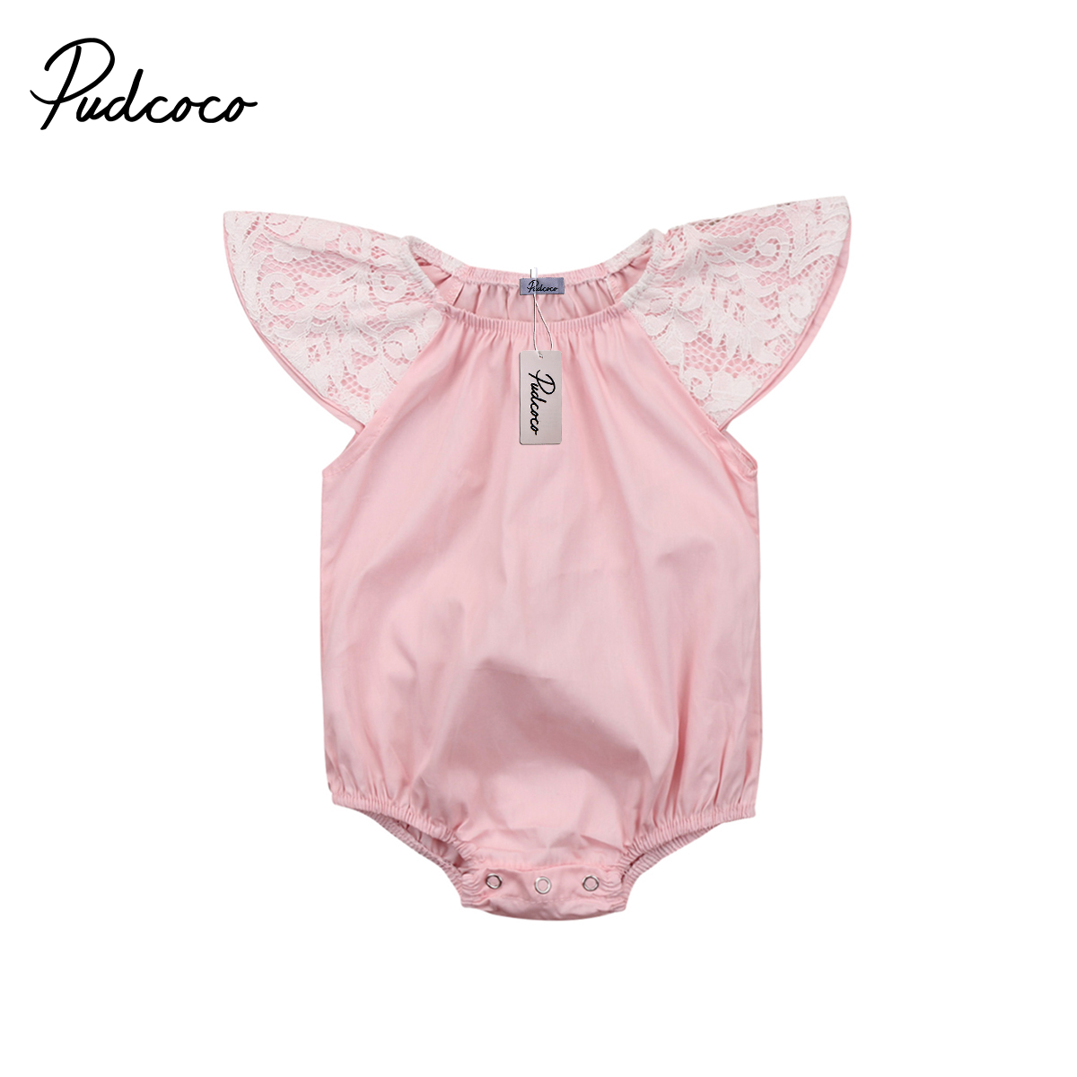Pudcoco Toddler Baby Girls Lace Ruffle Romper Jumpsuit Jumper Outfits Sunsuit Summer Cotton One-pieces