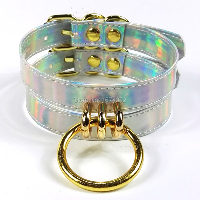 Handmade Punk Gothic Double Row Holographic Choker Gold Circle Metal Choker Silver Laser Collar Punk Fetish Necklace