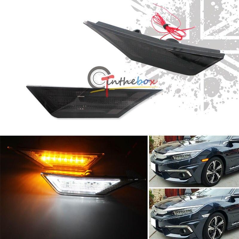 купить JDM OEM Smoke Lens Side Marker Lamps w/ DRL LED Lights For 10th Gen Honda Civic дешево