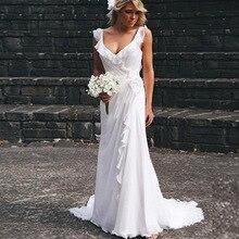 2015 Romantic Chiffon Open Back Beach Bridal Gown Wedding Dress Bohemian Simple Design White vestido casamento with Flower