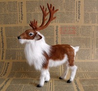 27x22x7cm Reindeer Toy Christmas Deer Model Polyethylene Furs Resin Handicraft Decoration Baby Toy Christmas Gift A677