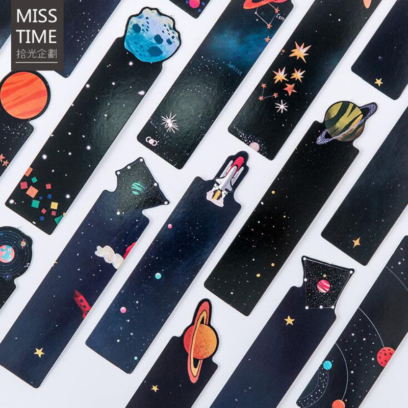 30 Pieces / Set Small Universe Message Creative Shaped Planet Bookmark School Office Supplies Children Students Beautiful Gifts