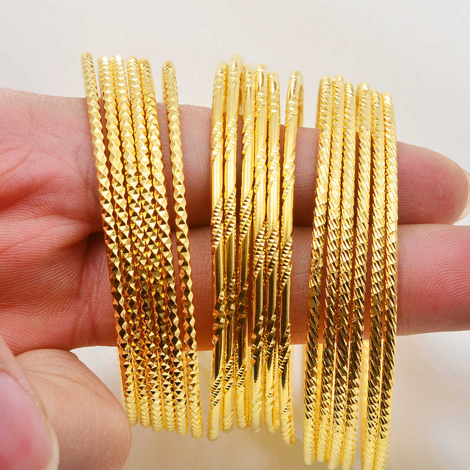 Anniyo (6pcs/lot)African Gold Color Shiny Bangles for Women Girls Dubai Circle Bracelet Jewelry Ethiopian Bride Wedding #013707
