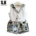 SK Brand Folk-custom Girls Clothing Sets  with Tie 2017 Summer Kids Clothing for Girls Fashion Toddler Girls Clothes Sets
