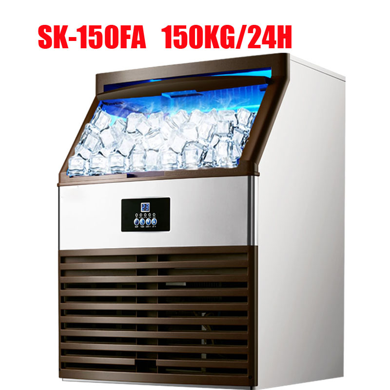 150kg/24H ICE MAKERS 110V/220V Ice Making Machine Milk Tea Room/small Bar/Coffee Shop Fully Automatic Large Ice Cube Machine
