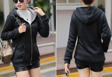 XXXXL Hoodies  wear new tide large size ladies plus velvet thickening hooded zipper jacket female youth outerwear spring autumn