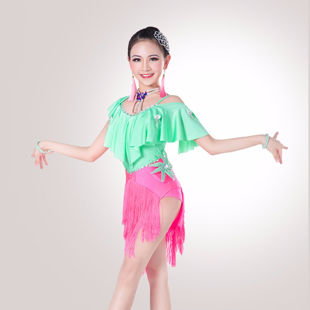 New Arrival Girl Latin Dance Dress Lady Favorite Color Greenred Children School Girl -1851