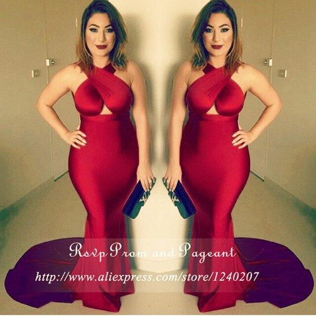 Venda quente borgonha elegante longo vestidos de baile 2017 off the shoulder halter andar de comprimento cetim stretch sereia prom dress