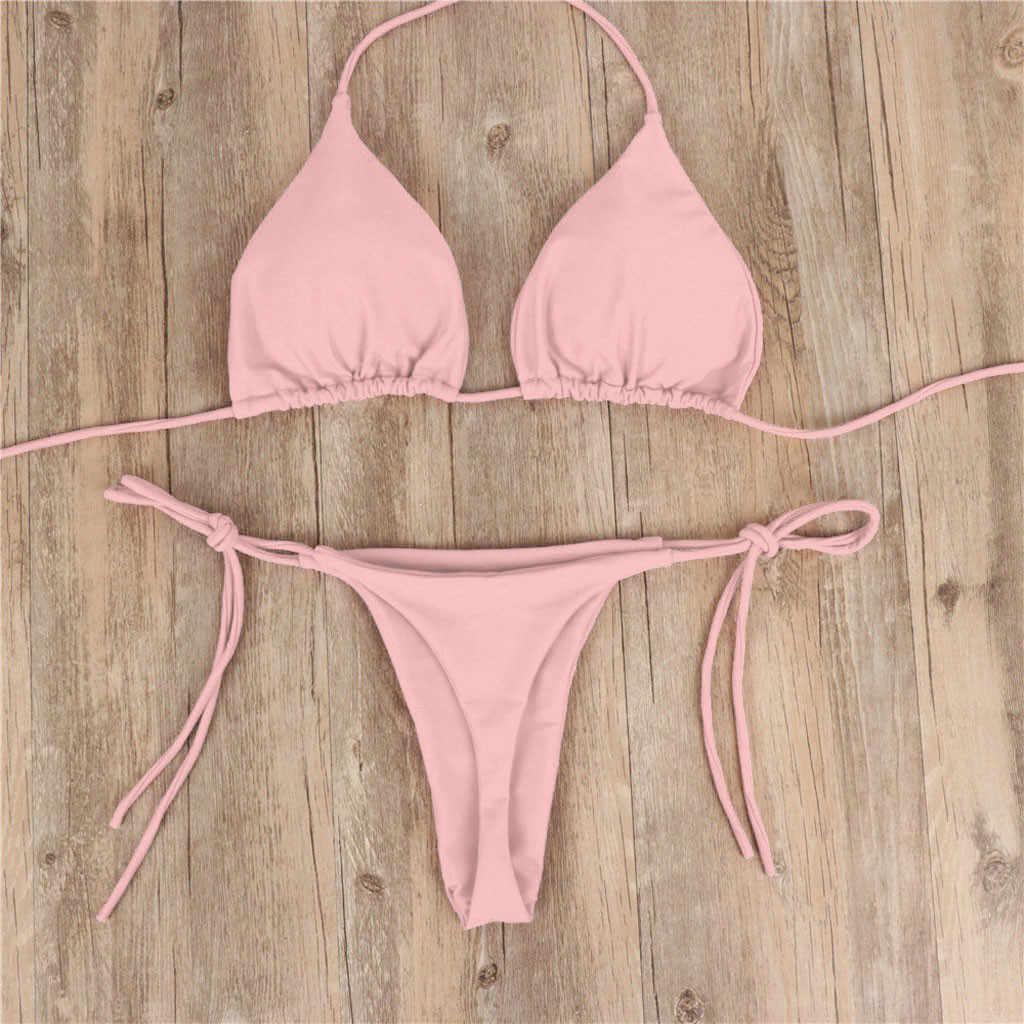 Maillot de bain femme Sexy Bikini maillot de bain 2019 maillots de bain femmes maillots de bain haut à volants avec bas taille haute Bikini ensemble