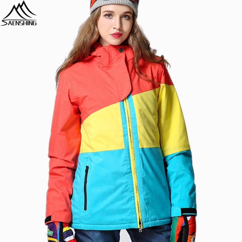 SAENSHING Womens Ski Jacket Snowboard Waterproof Girls Snow Jacket Ski Sportswear Breathable Super Warm Winter Ski Suit Coats