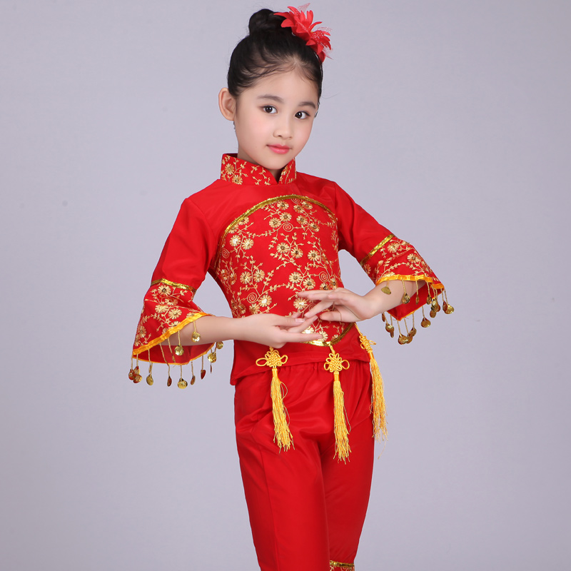 Chinese Folk Dance Costume Children Han Ethnic National Dance Clothing Children Girls Classical Dance