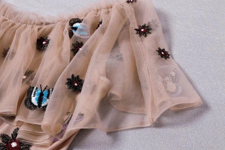 Une Ligne Brodé Perlé Maxi Chaude Robe Longueur Bateau Étage Nu À Encolure Vêtements Cap Robes Mesh Papillon Femmes Manches Nouveau uZwOXPkiT