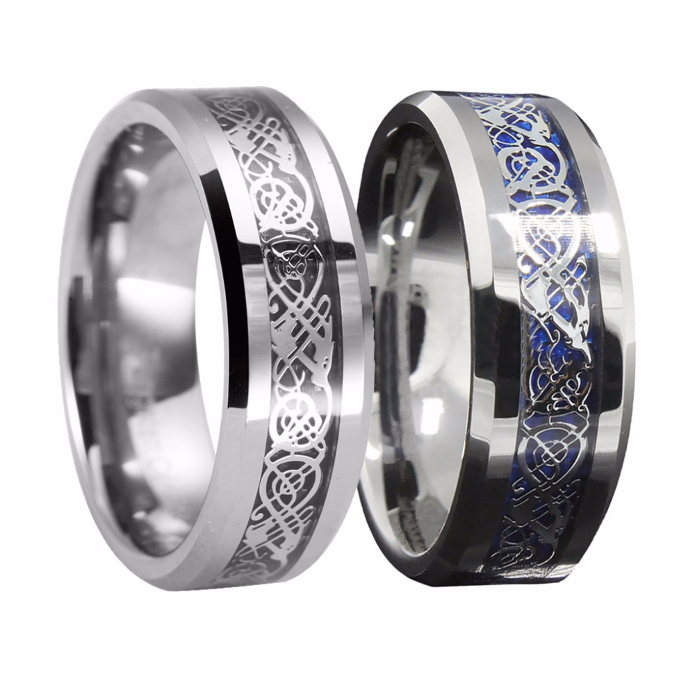 queenwish tungsten carbide ring silvering celtic dragon. Black Bedroom Furniture Sets. Home Design Ideas