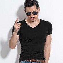 Men's V collar men's T-shirt, cotton tight fitting short sle
