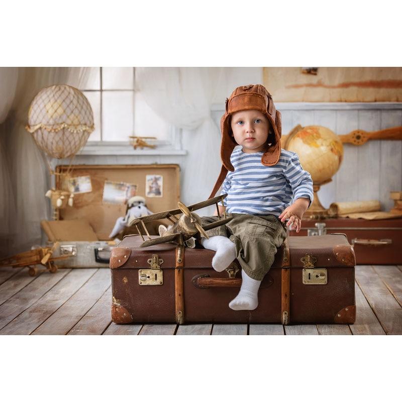 Fotografia vinil pano de Fundo Do Quarto Do Bebê Recém-nascido Brinquedo S-2625 Viajar Caso Computer Print Crianças Backdrops para Estúdio de Fotografia