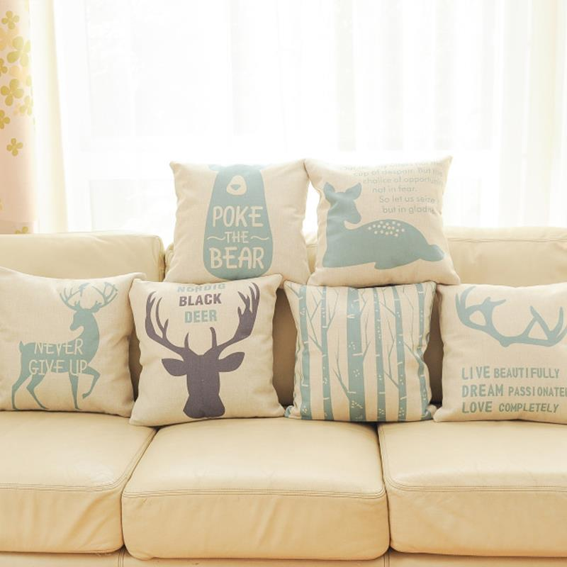Tremendous Us 3 48 76 Off Topfinel Hot Deer Pattern Decorative Throw Pillows Case Linen Cotton Cushion Cover Creative Decoration For Sofa Car Covers 45X45 In Inzonedesignstudio Interior Chair Design Inzonedesignstudiocom