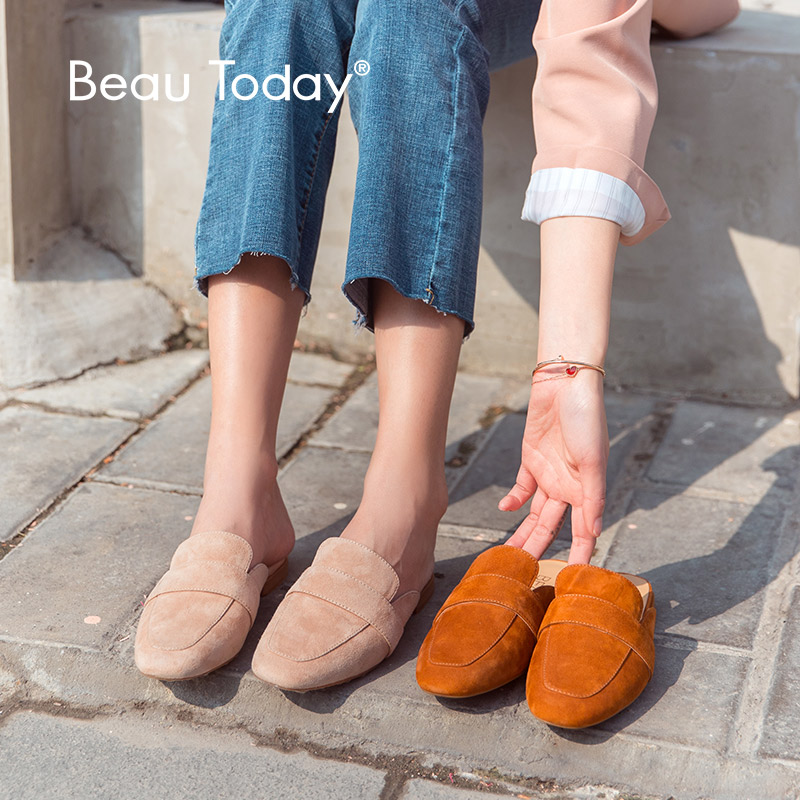 BeauToday Women Mules Shoes Kid Suede Leather Round Toe Slip-On Spring Autumn Ladies Flats Handmade 36093