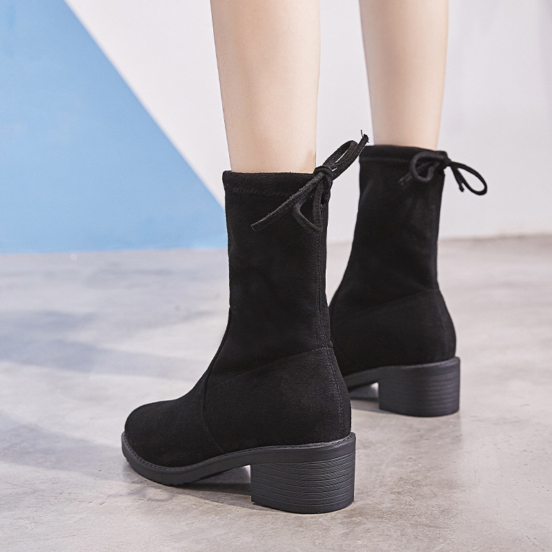 Peluche Chaussons Bout Femmes Black Lady Bottines Pour Taille Daim Femme D'hiver Lacent Bottes Plus En Chaussures Pointu 5Sjc3ARq4L