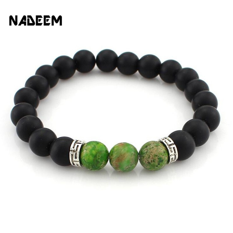 2017 New Products Wholesale Lava Stone Beads Natural Stone Bracelet, Men Mala Bracelet Jewelry, Stretch Yoga Bracelet ND3930