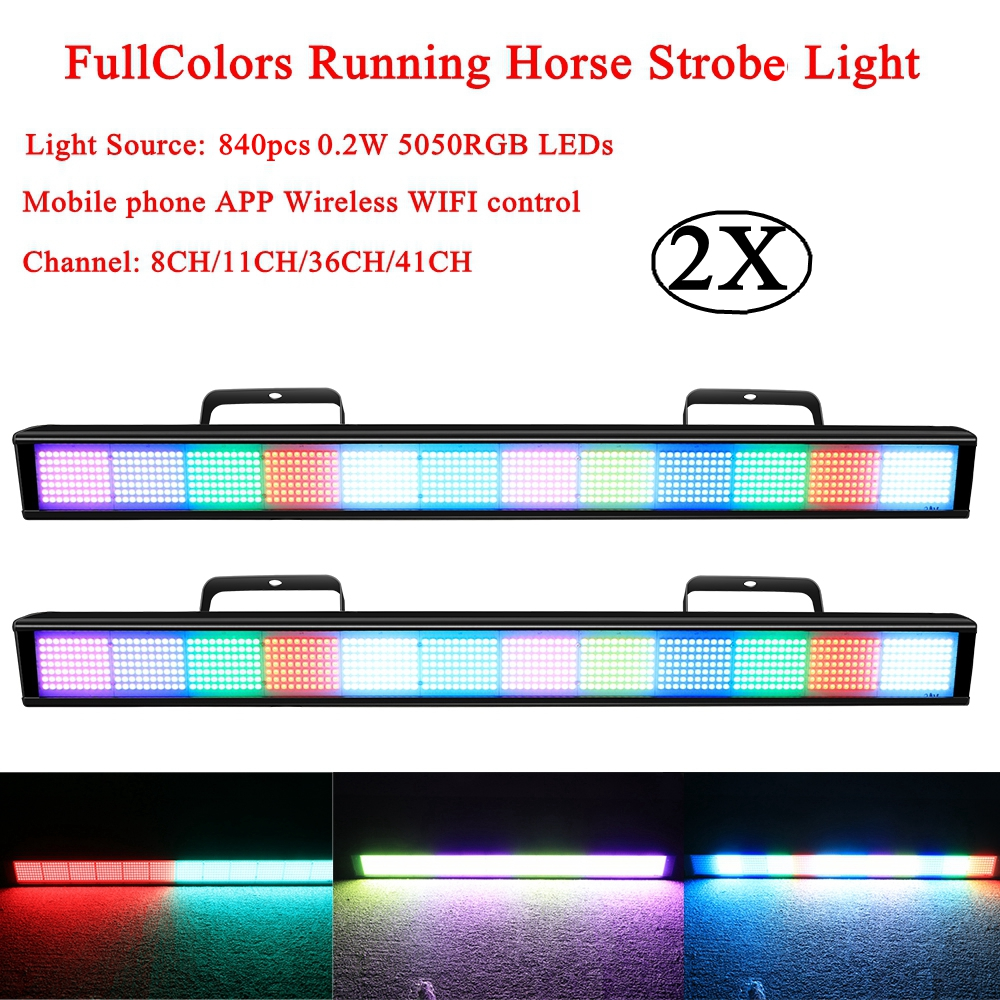 2Pcs/Lot LED 840 RGB Full Colors Running Horse Strobe Disco For Festival Parties Music Wireless WIFI control LED Wall Wash Light