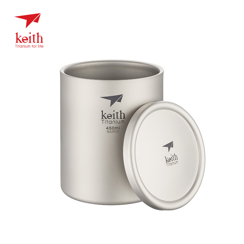Keith Titanium Mug Vacuum Cup Double Walled Ultralight Titanium Mugs Cups Lightweight Portable Camping Hiking keith pure titanium double wall water mugs with folding handles drinkware outdoor camping cups ultralight travel mug 450ml 600ml