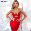 TAUPIN AM 2017 Spaghetti Strap Bandage Dress Women Lace Up Pencil Celebrity Party Dresses Sexy Short Red Bodycon Dress Club Wear