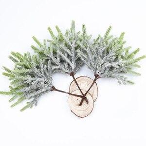Image 2 - 6 pcs צמחים מלאכותיים מזויף אורן אגרטלים חג המולד קישוטים לבית חתונה diy מתנות תיבת זר רעיונות פלסטיק פרחים