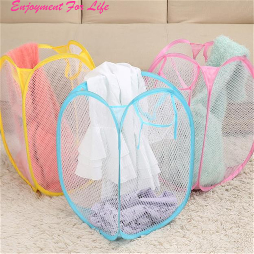 New Foldable Pop Up Washing Clothes High Quality Laundry Basket Bag Hamper Mesh Storage Wholesale Free Shipping Dec 22