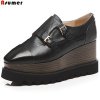ASUMER Black White Fashion Spring Autumn New Pumps Shoes Square Toe Casual Platform Wedges Women Genuine