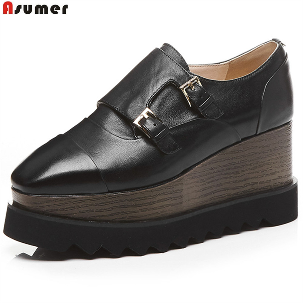 ASUMER black white fashion spring autumn new pumps shoes square toe casual platform wedges women genuine leather high heel shoes nayiduyun women genuine leather wedge high heel pumps platform creepers round toe slip on casual shoes boots wedge sneakers