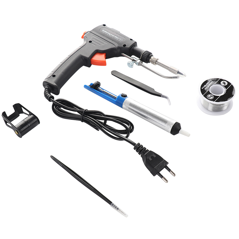 220V 60W EU Automatic Send Tin Gun Electric Soldering Iron Rework Station Desoldering Pump Welding Tool