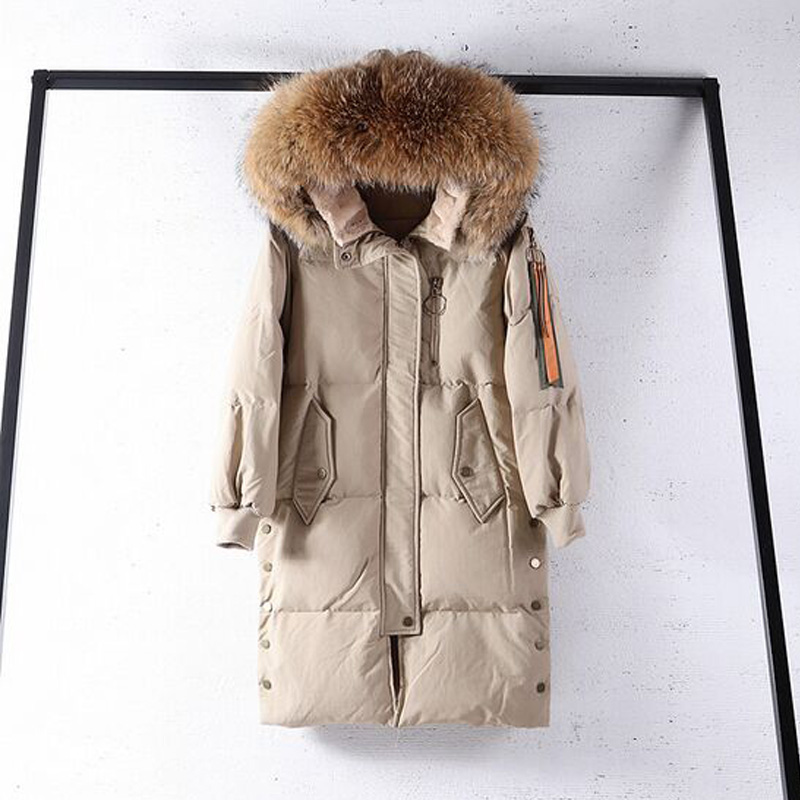 Large Real Natural Raccoon Fur 2018 New Winter   Coat   Women Hooded Long Thick Warm Parka White Duck   Down   Jacket Female   Down     Coat
