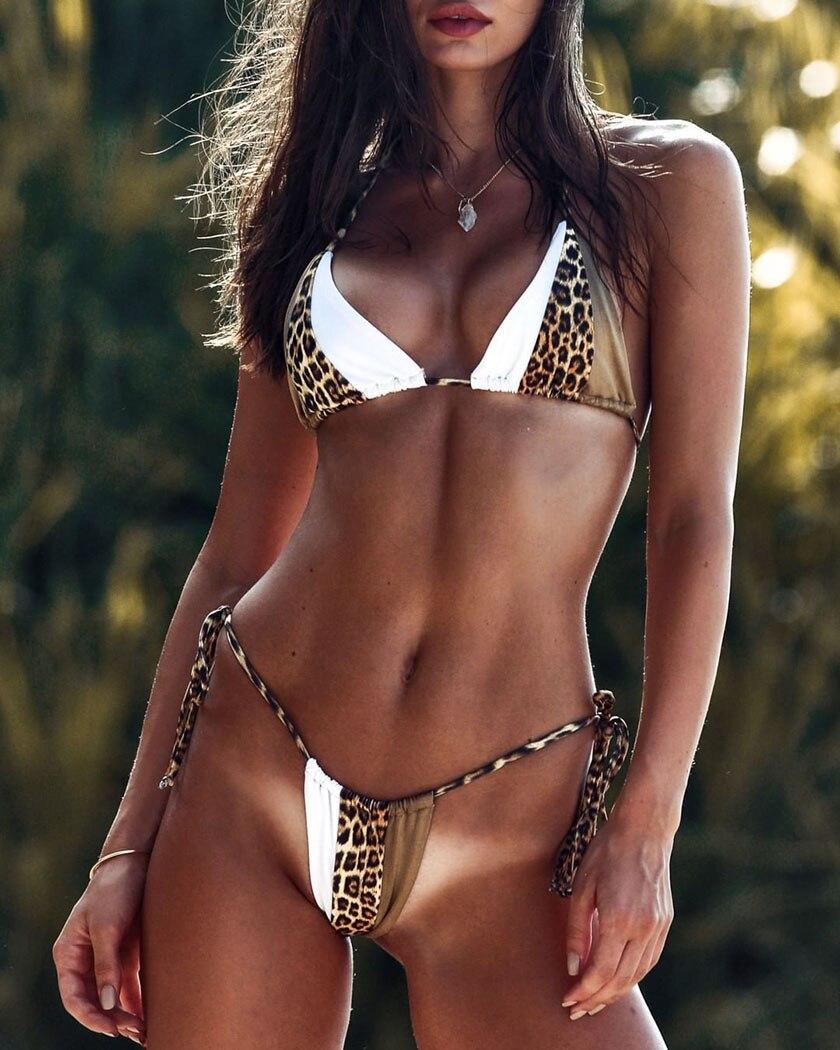 Women Fashion Leopard Beachwear Patchwork High Waist Bikini Split Swimsuit